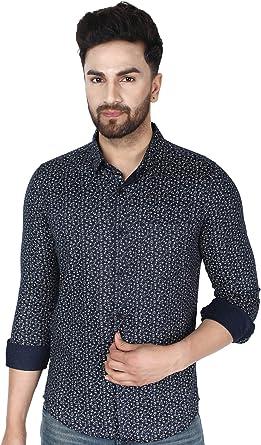 SKAVIJ Camisa de Vestir Slim Fit Informal Camisa de Estampado Floral de los Hombres botón de Manga Larga Camisas: Amazon.es: Ropa y accesorios