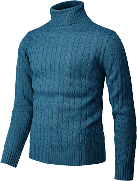 COOFANDY Mens Slim Fit Turtleneck Sweater Ribbed Cable Knit