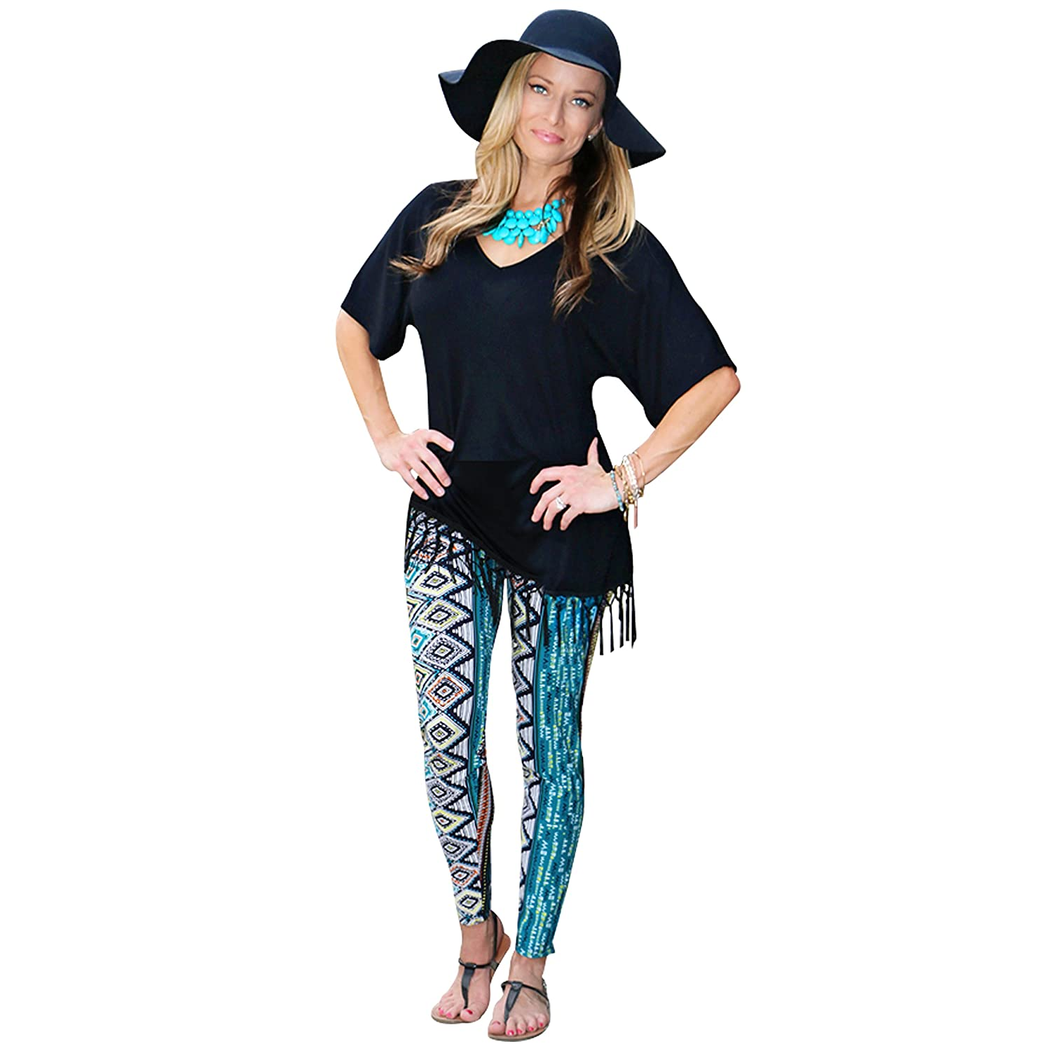 Mommy and Me Black and Turquoise Multi Design Leggings