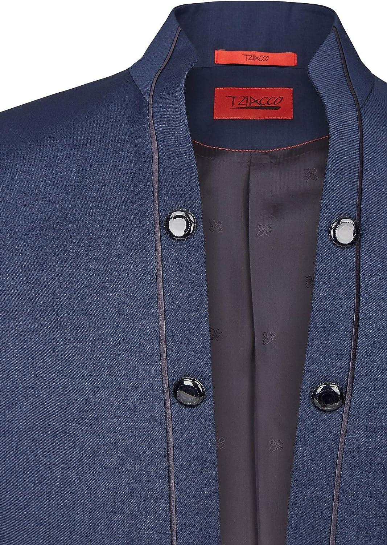 Slimline Tziacco ROYAL Hochzeitsanzug in royalem Dunkelblau mit elegantem Stehkragen