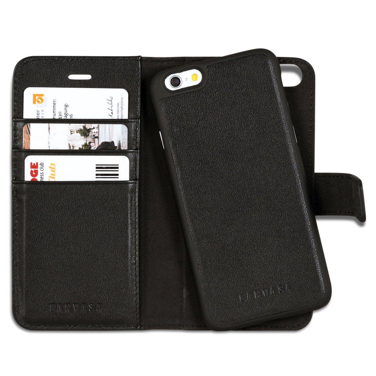 KANVASA Funda iPhone 8 / Funda iPhone 7 Case Cartera Desmontable Negra Piel Auténtica Premium 2 en 1 Tipo Libro Cierre Imán para Apple iPhone 8 & 7 (4.7