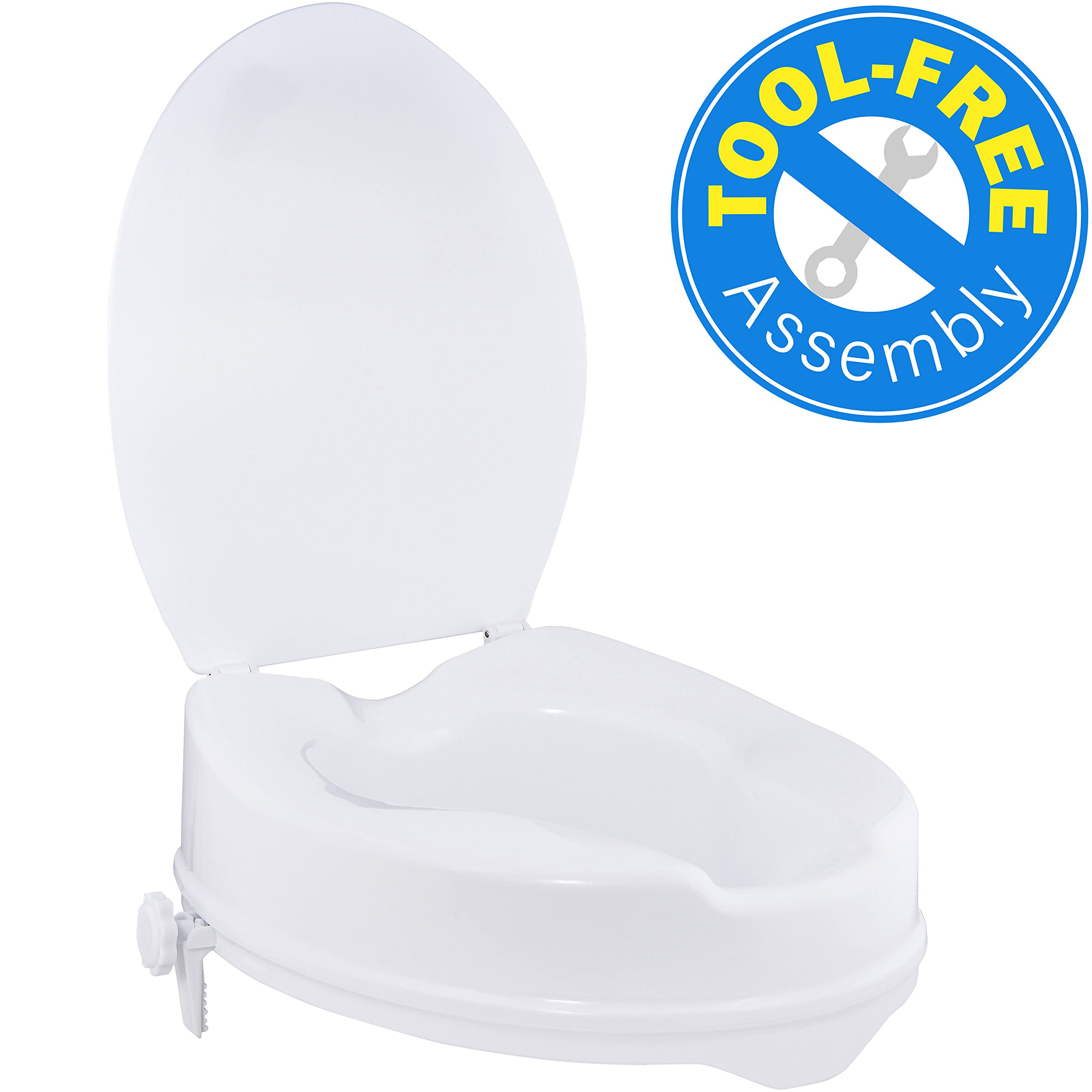 Vaunn Medical Clamp-on Secure 4'' White Toilet Seat Riser or Raised Toilet and Commode Seat by Vaunn