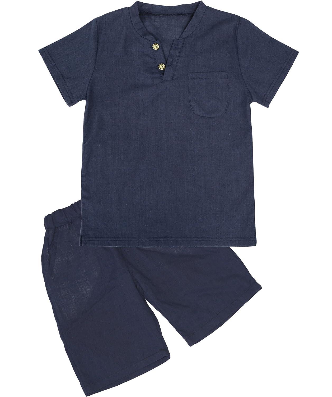 Boy T-Shirt and Shorts Set Cotton Linen Summer Short Sleeve Children Two Pieces Clothing Set