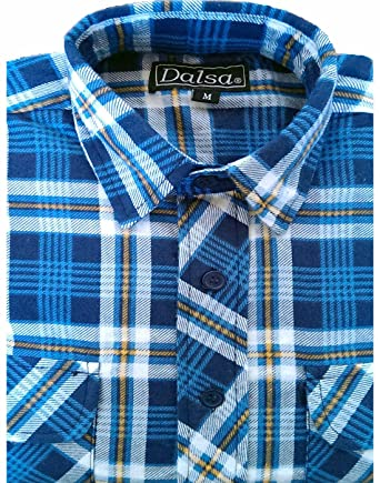 Dalsa Mens Brushed Cotton Check Shirt Lumberjack Flannel Long Sleeve Warm  Checked Work Shirts Blue Size 7a62e6045