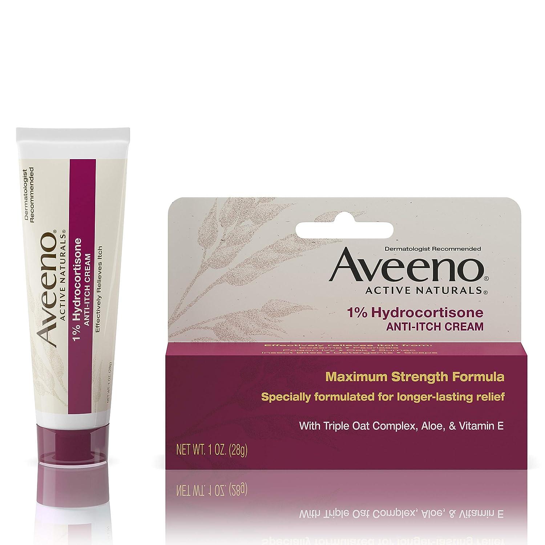 Aveeno Maximum Strength 1% Hydrocortisone Anti-Itch Cream with Pure Oat Essence, Triple Oat complex, Aloe & Vitamin E, For Itch, Rash & Redness Relief, 1 oz