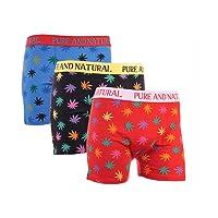 IMTD Mens 3prs Designer Leaf Weed Ganga Print Design Boxer Shorts Underwear Boxershorts Trunks S-XL