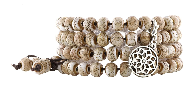 Women Men Elastic Tibetan Buddhist 108 Tan Porcelain Worry Prayer Beads Mala Bracelet Necklace