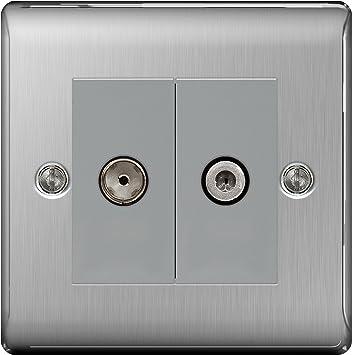1 Gang 13 Amp Switch Socket Full Range of Matching Items BG Nexus NBS Range Brushed Steel Switches /& Sockets Black
