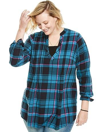 e14e4025934 Woman Within Women s Plus Size Pleat Front Notch Neck Plaid Flannel Tunic