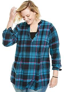 b923993443d085 Woman Within Women s Plus Size Pleat Front Notch Neck Plaid Flannel Tunic