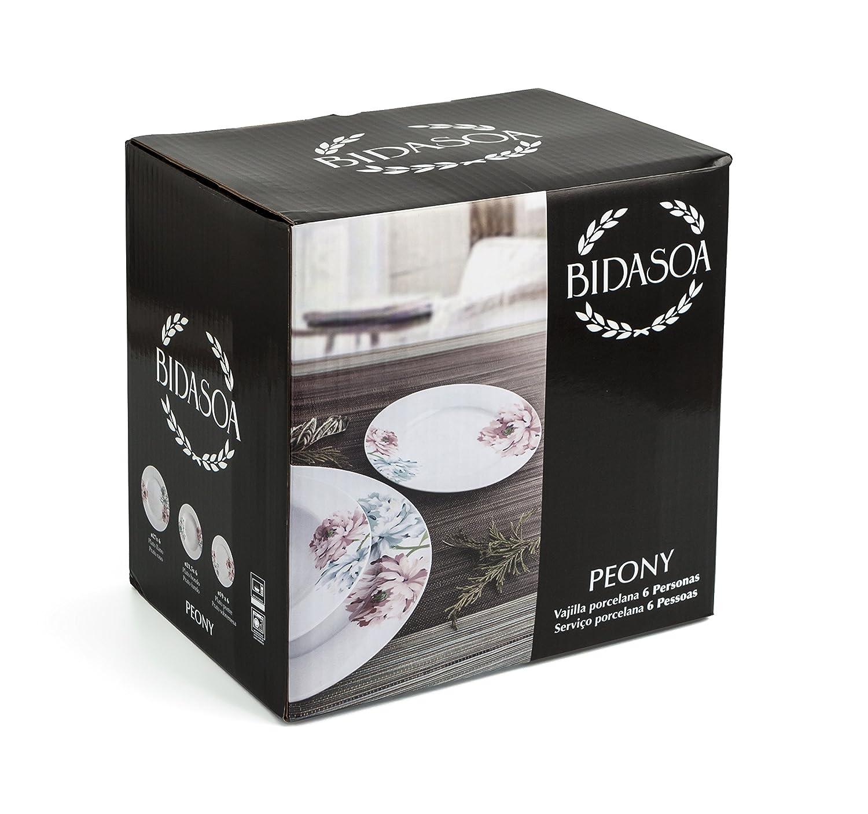 Bidasoa Peony - Vajilla de 18 piezas, porcelana, multicolor: Amazon.es: Hogar