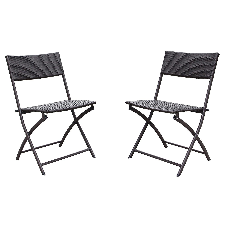 International Caravan Furniture Piece Set of 2 Resin Wicker Folding Chairs