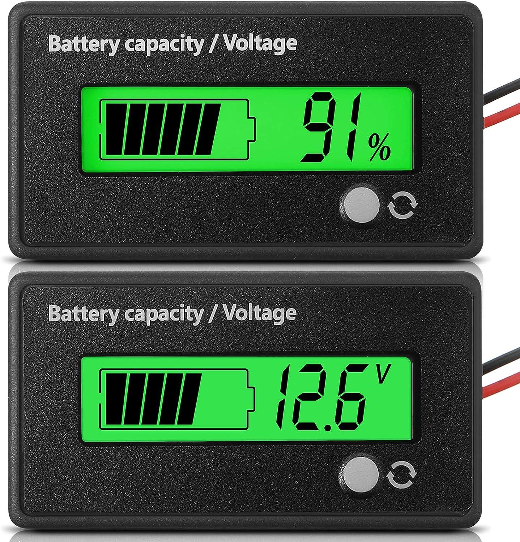 Medidor de Batería DC 12V 24V 36V 48V 72V con Alarma, Indicador de Voltaje de Capacidad Probadora de Batería Monitores de Indicador de Batería de Lones de Litio y Plomo-Ácido, Verde