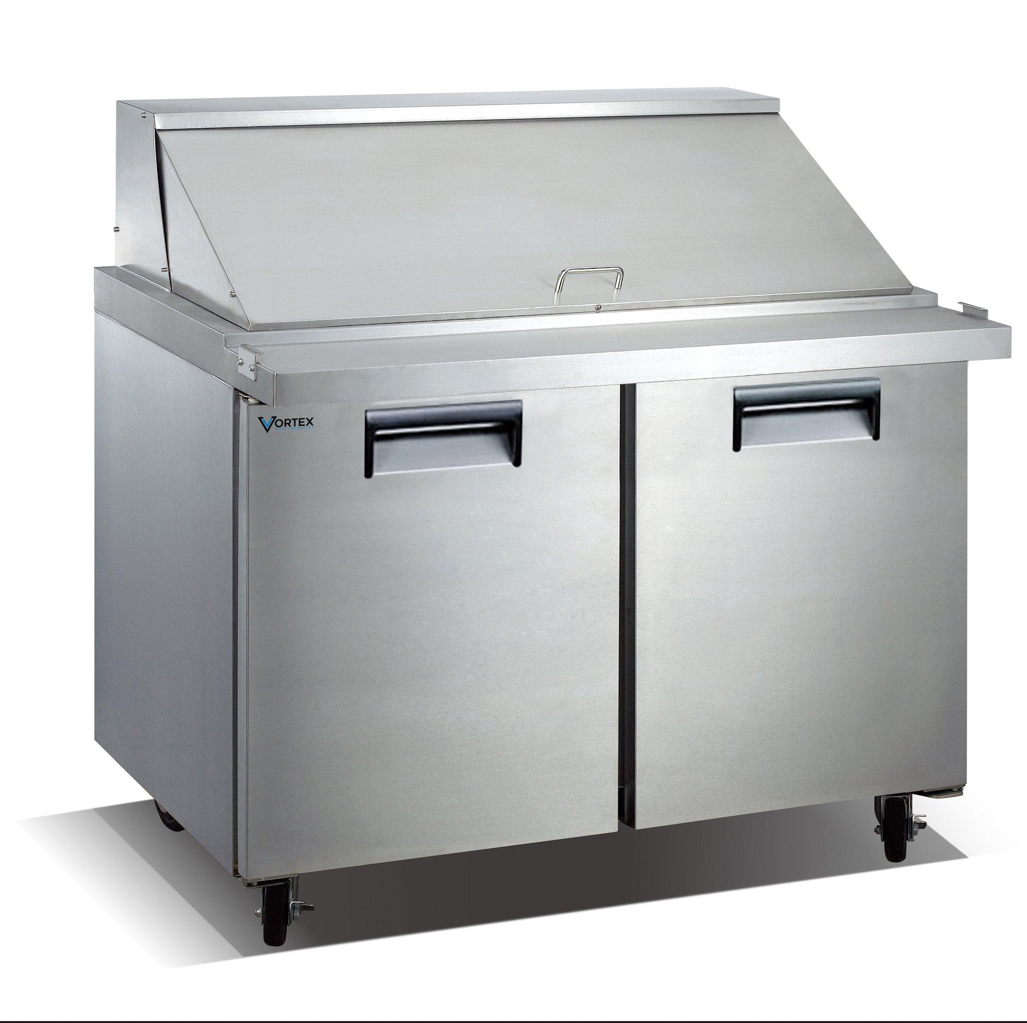 Vortex Refrigeration Commercial 2 Door 48'', 18 Pan Mega Top Sandwich Prep Table - 12.5 Cu. Ft.