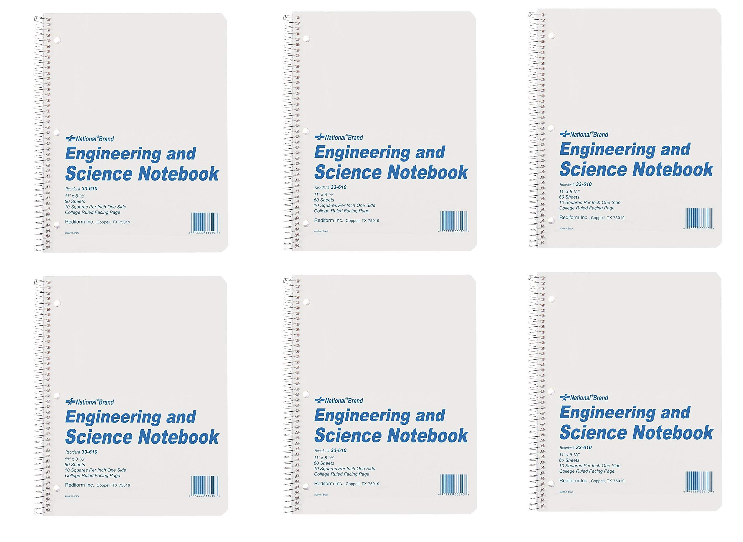 National Brand Engineering and Science Notebook, College with Margin and 10 X 10 Quad, White, 11 x 8.5 Inches, 60 Sheets (33610), 6 Packs by Rediform