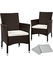 TecTake 2 x Poly rattan garden chairs set + cushions + 2 sets for exchanging the upholstery + stainless steel screws - different colours - (Brown antique | No. 402124)
