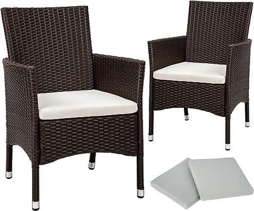 TecTake 2 x Ratán sintético silla de jardín set con cojines + 2 Set de fundas intercambiables + tornillos de acero inoxidable - disponible en diferentes colores - (Marrón antigüedad | No. 402124): Amazon.es: Jardín