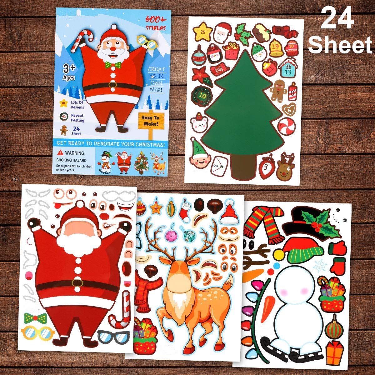 Christmas Stickers - Make A Snowman/Christmas Tree/Santa Claus/ Reindeer Christmas Stickers,Christmas Party Games Favors & Decorations DIY Stickers for Kids (Make A Christmas Decoration Stickers)
