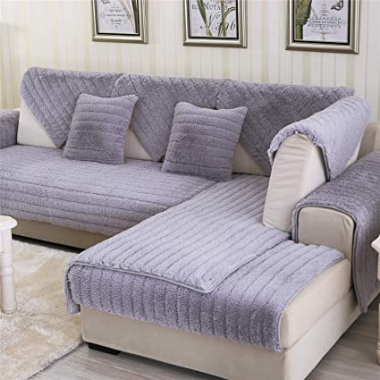 Enjoyable Ostepdecor Velvet Plush Furniture Protector Couch Slipcover Sofa Loveseat Recliner Chair Machine Washable Slip Cover Throw Pets Dogs Kids Grey Ibusinesslaw Wood Chair Design Ideas Ibusinesslaworg