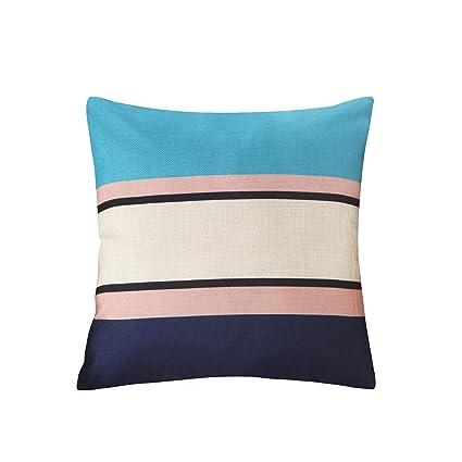 Amazon.com: Funda de cojín de lino con patrón cuadrado ...