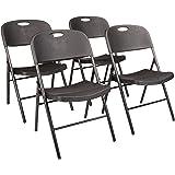 Amazon Basics Folding Plastic Chair, 350-Pound Capacity, Black, 4-Pack