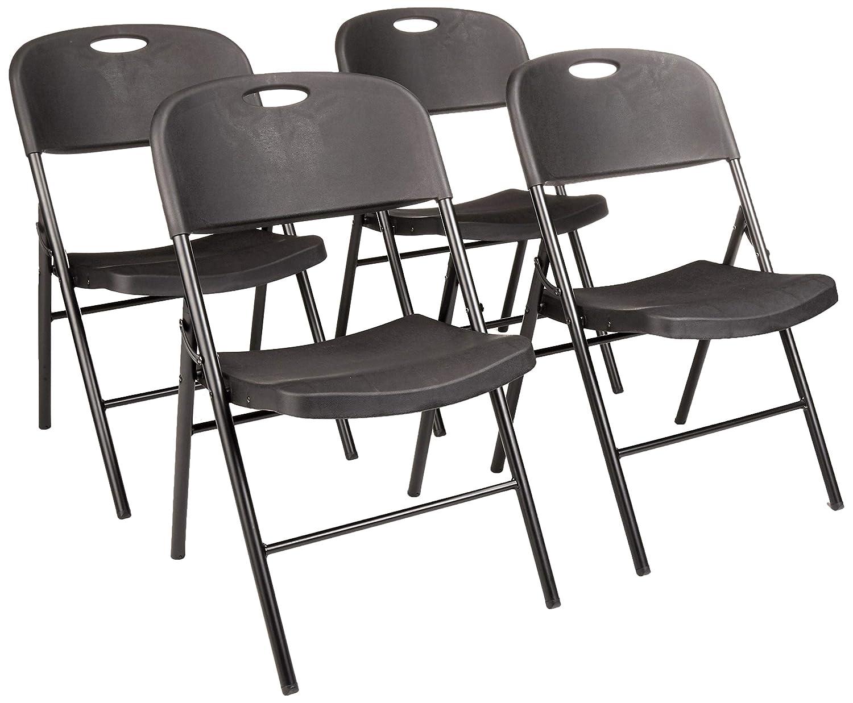 AmazonBasics Folding Plastic Chair, 350-Pound Capacity, Black, Set of 4