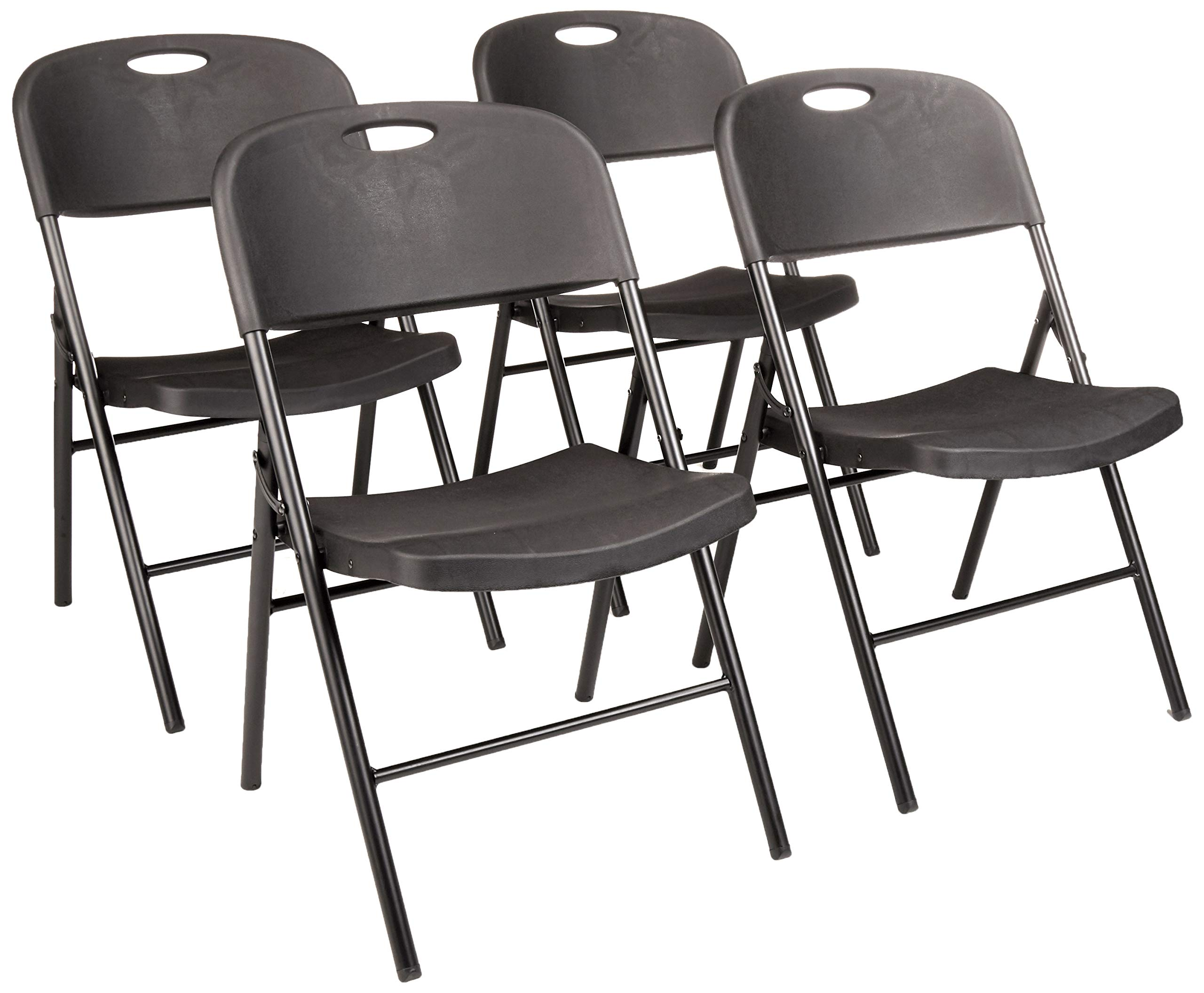 AmazonBasics Folding Plastic Chair, 350-Pound Capacity, Black, Set of 4 by AmazonBasics