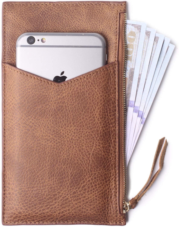 Vintga Brown Borgasets UltraThin Women's Wallet RFID Blocking Leather Credit Card Holder Zipper Purse for Phone Purple