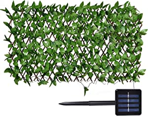 Expandable Faux Privacy Fence Screen with 113-LED Solar Lights Outdoor for Patio Balcony Garden, Decorative Faux Ivy Fence Screen Panel (Warm White)