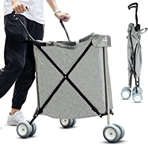 Freshore Grocery Shopping Cart with Wheels - Collapsible Push Folding Utility Wagon Trolley ? Laundry Trolley Carrier with Heavy Duty Flexible Fashion Design ( Grey )