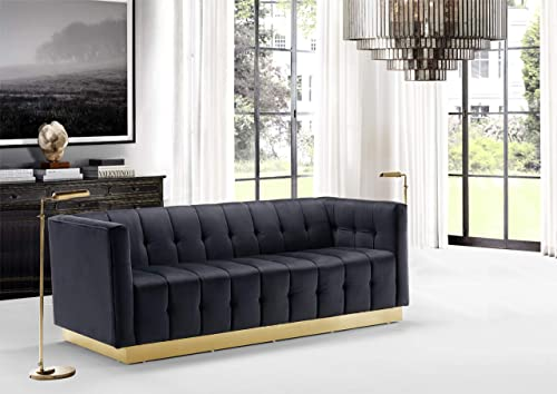 Iconic Home Primavera Sofa Velvet Upholstered Channel-Quilted Button Tufted Single Bench Cushion Shelter Arm Design Gold Tone Metal Base Modern Contemporary