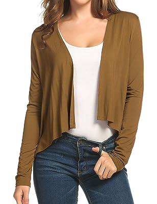 Elesol Women's Asymmetrical Hem Classic Open Front Cropped Cardigan Short Cardigan