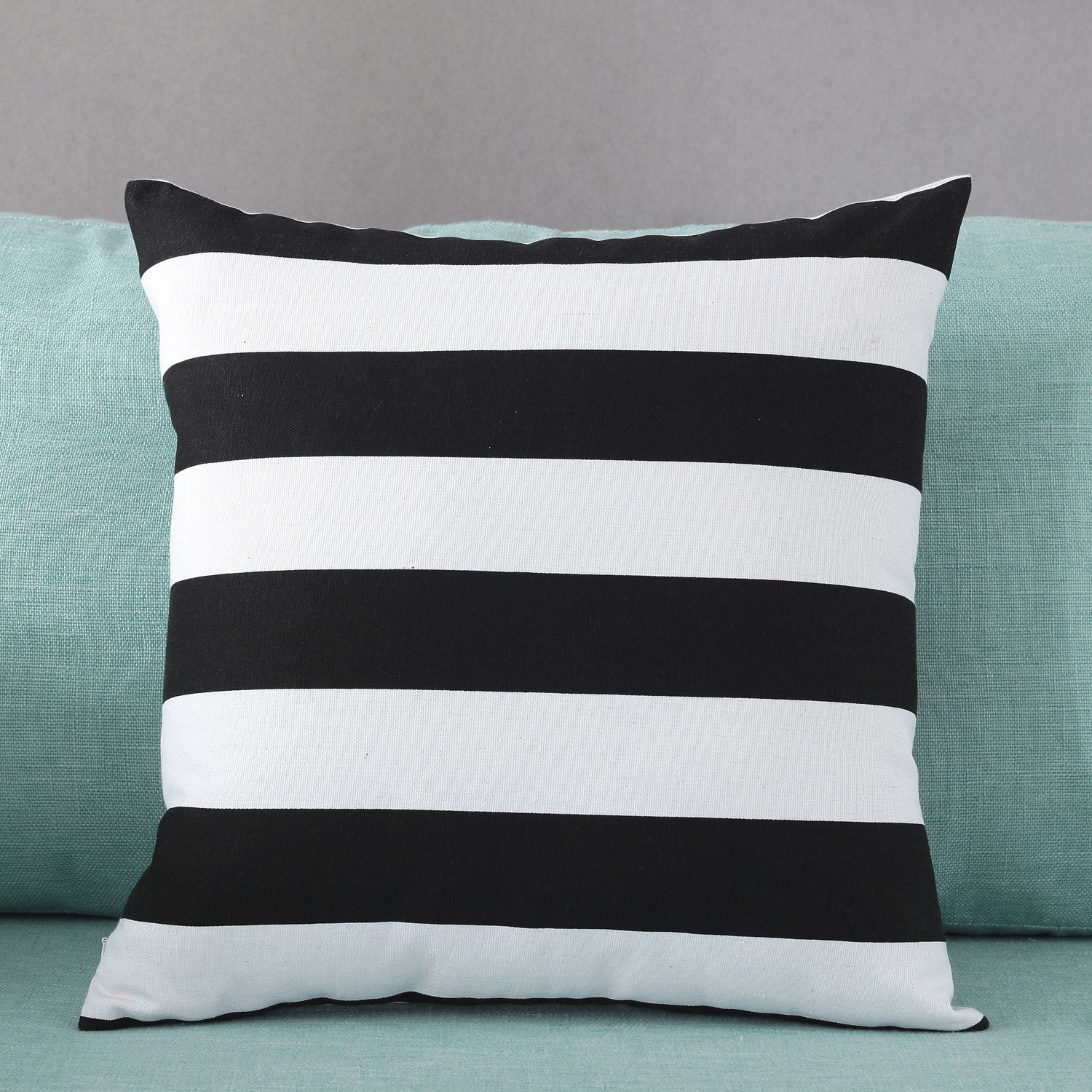 30x50cm TAOSON Home Decorative Cotton Canvas Square Toss Pillowcase Cushion Cover Black Stripe Throw Pillow Case with Hidden Zipper Closure Only Cover No Insert 12x20