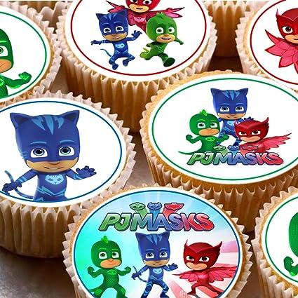24 adornos para tartas de 4 cm con imágenes de PJ masks para magdalenas