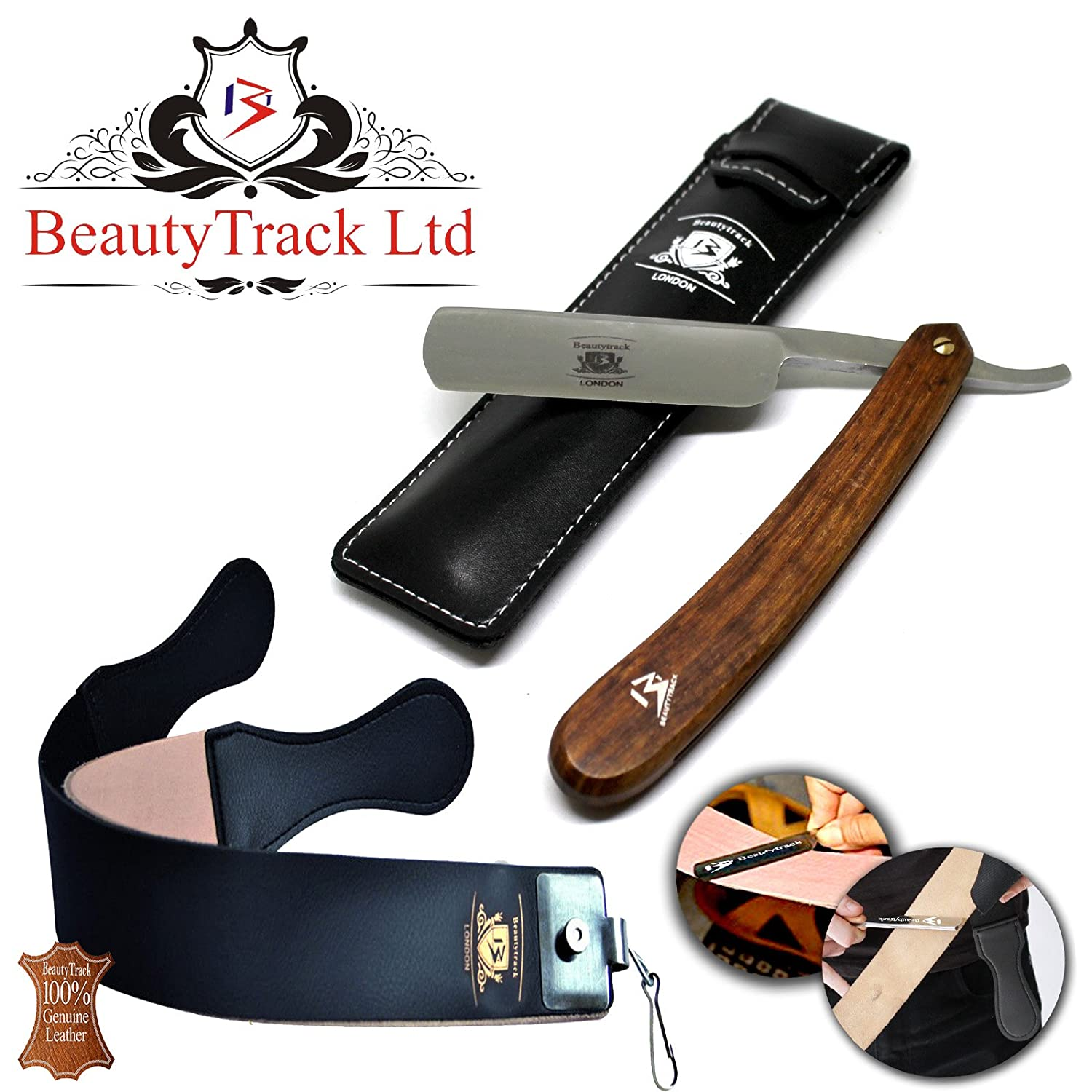 BeautyTrack - Pure Wood Handmade Straight Wet Shaving Cut throat Razor Shaver Barber Razors + leather strop - vintage shaving kit for men - Superb Gift ideas