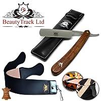 BeautyTrack - Pure Wood Handmade Straight Wet Shaving Cut throat Razor Shaver Barber Razors + leather strop - vintage shaving kit for men - Superb Gift ideas