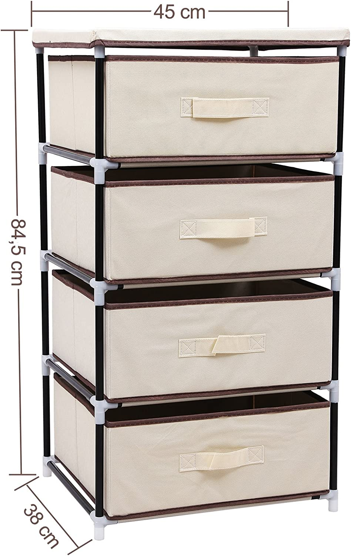 Zonas peque/ñas 106-GY-BH 100x29x55 cm Pr/áctico Mueble Cajonera Mesita de Noche para el Dormitorio sogesfurniture Cajonera para Armario Organizador con 5 Cajones de Tela