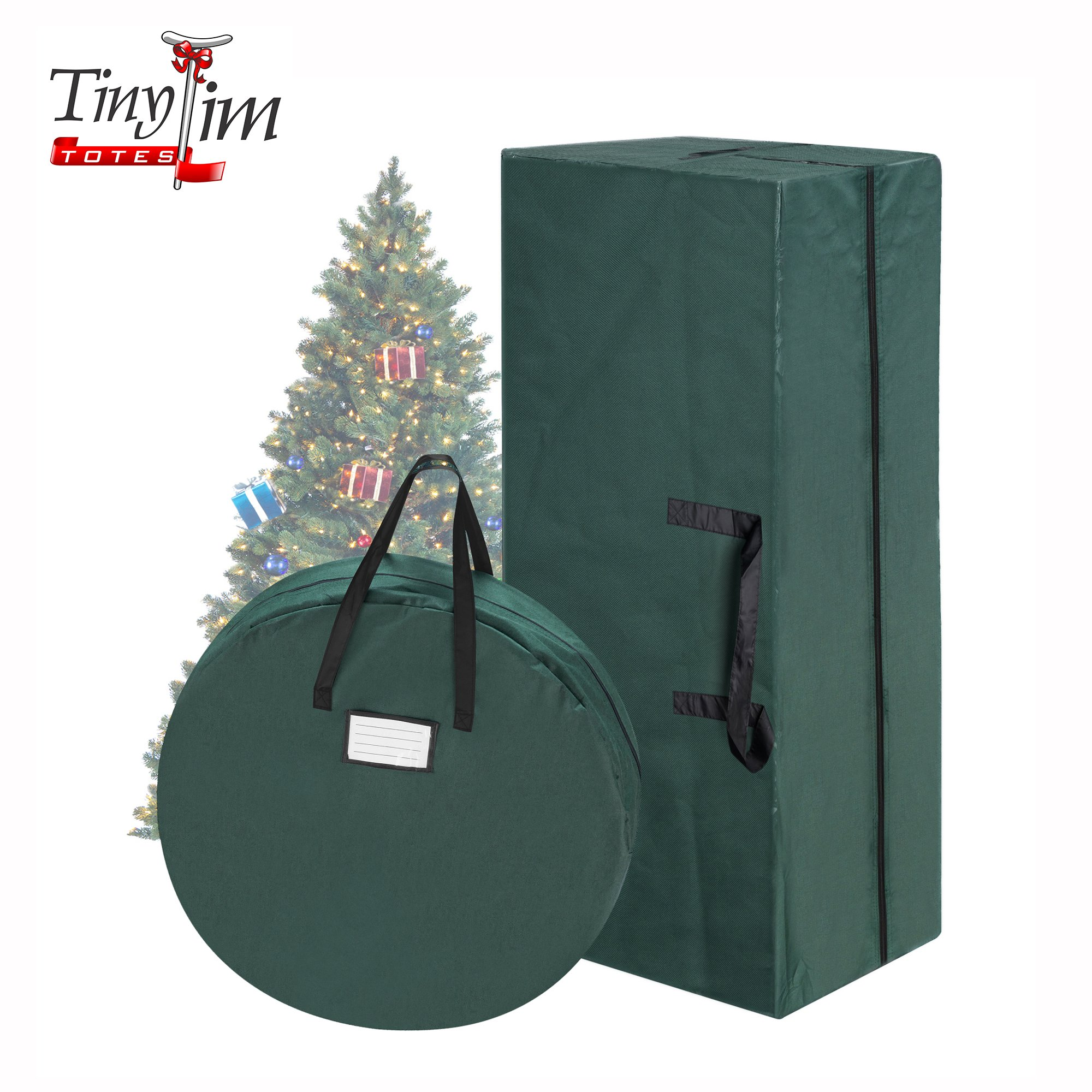 Tiny Tim Totes 83-DT5571 Premium Combo | Christmas Storage 10 Foot Artificial Tree and 30 Inch Wreath Bag, Green