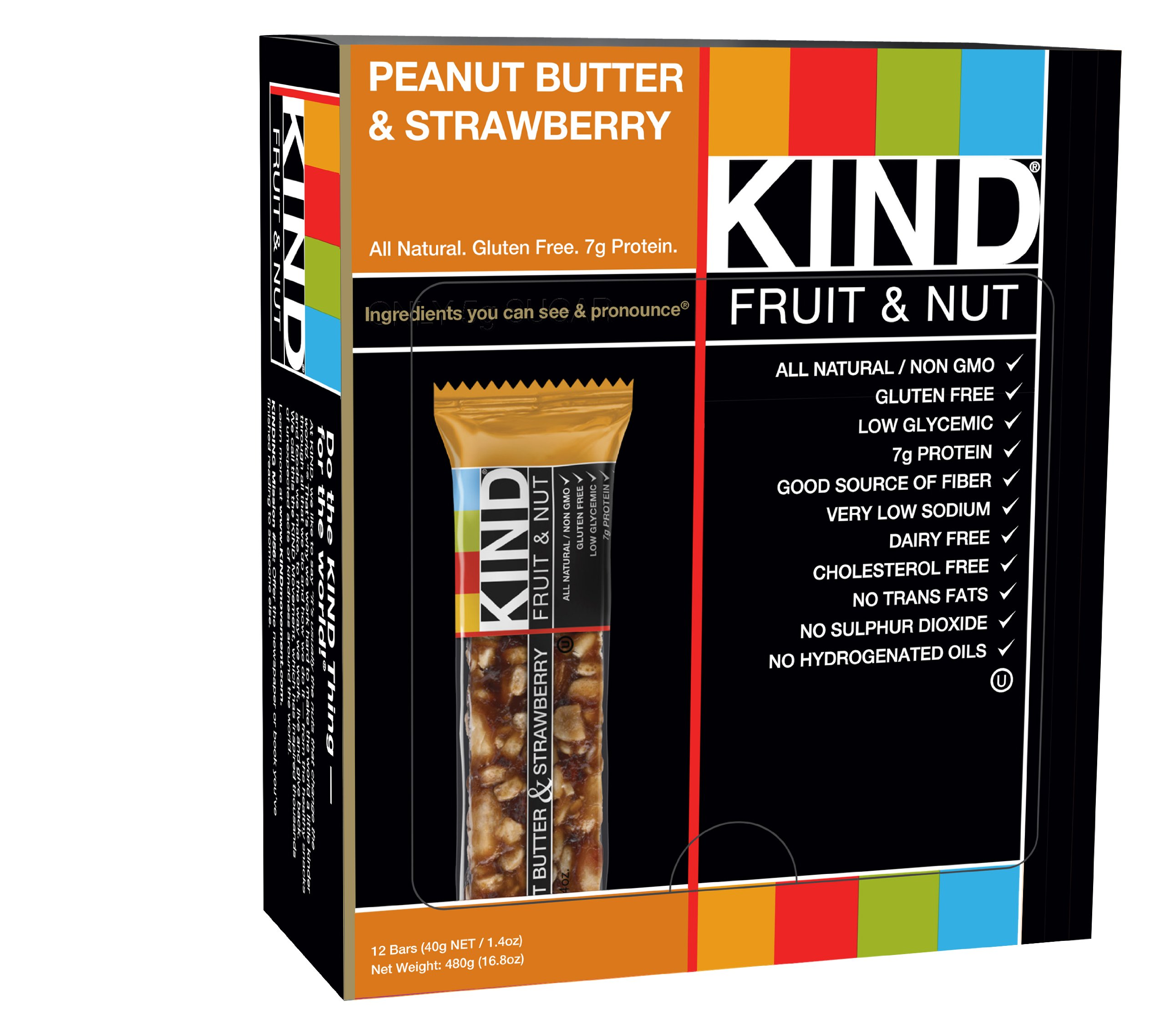 KIND Bars, Peanut Butter & Strawberry, Gluten Free, 1.4oz, 12 Count