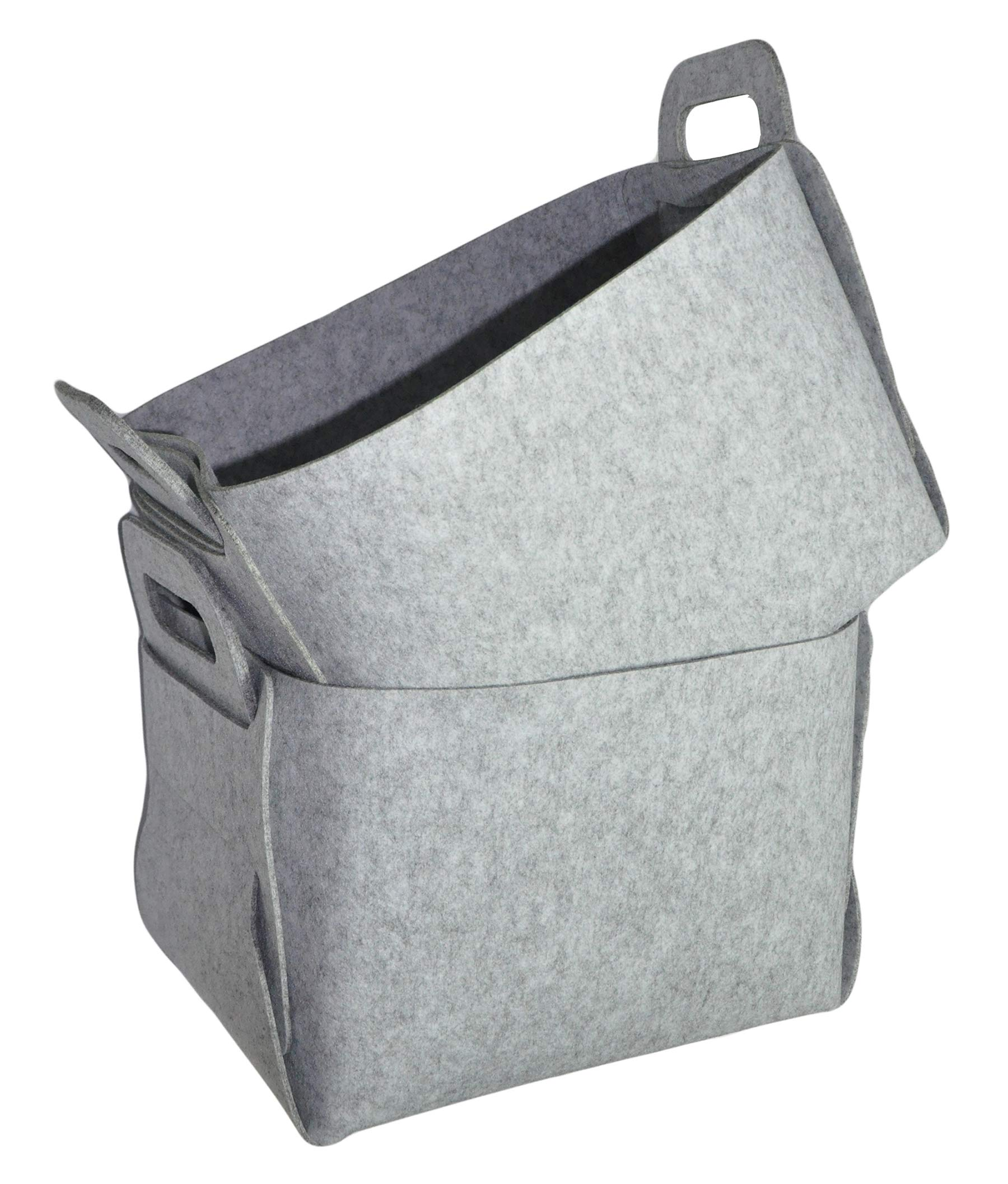 Estorager Collapsible Storage Baskets Magazine Holders, Decorative Folding Home Book Organizers Box Cubes Light Gray Pack of 2