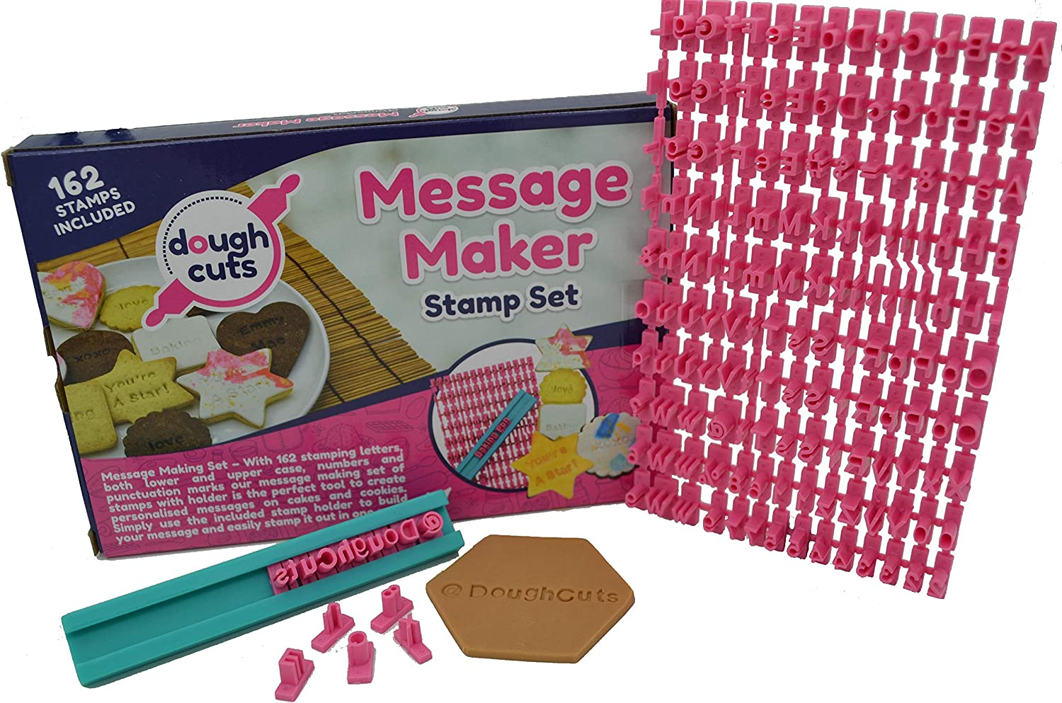 Alphabet Cookie Stamp Set of 162 Small Stamps Including Letters Lower & Upper Case, Numbers and Punctuation Stamps To Make Customizable Stamped Messages In Your Baking Of Cookies, Fondant And Cakes