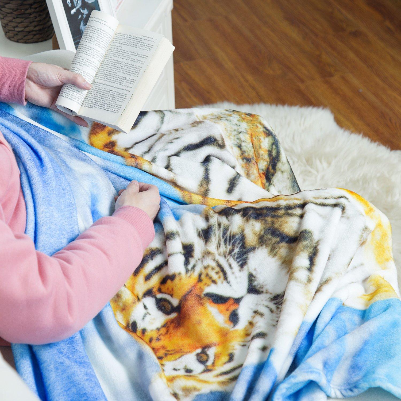 Multicolored Tiger Printed Throw Blanket - Luxury Flannel Fleece Throw Fuzzy Animal Blanket 50\