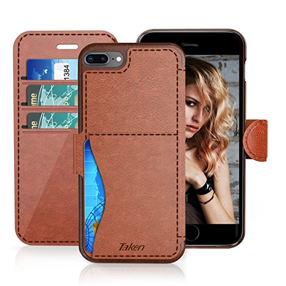 buy popular 816f3 04511 iPhone 8 Plus/iPhone 7 Plus Leather Wallet Case with Metal Magnetic, Slim  Fit and Heavy Duty, TAKEN Plastic Flip Case/Cover with Rubber Edge, for ...