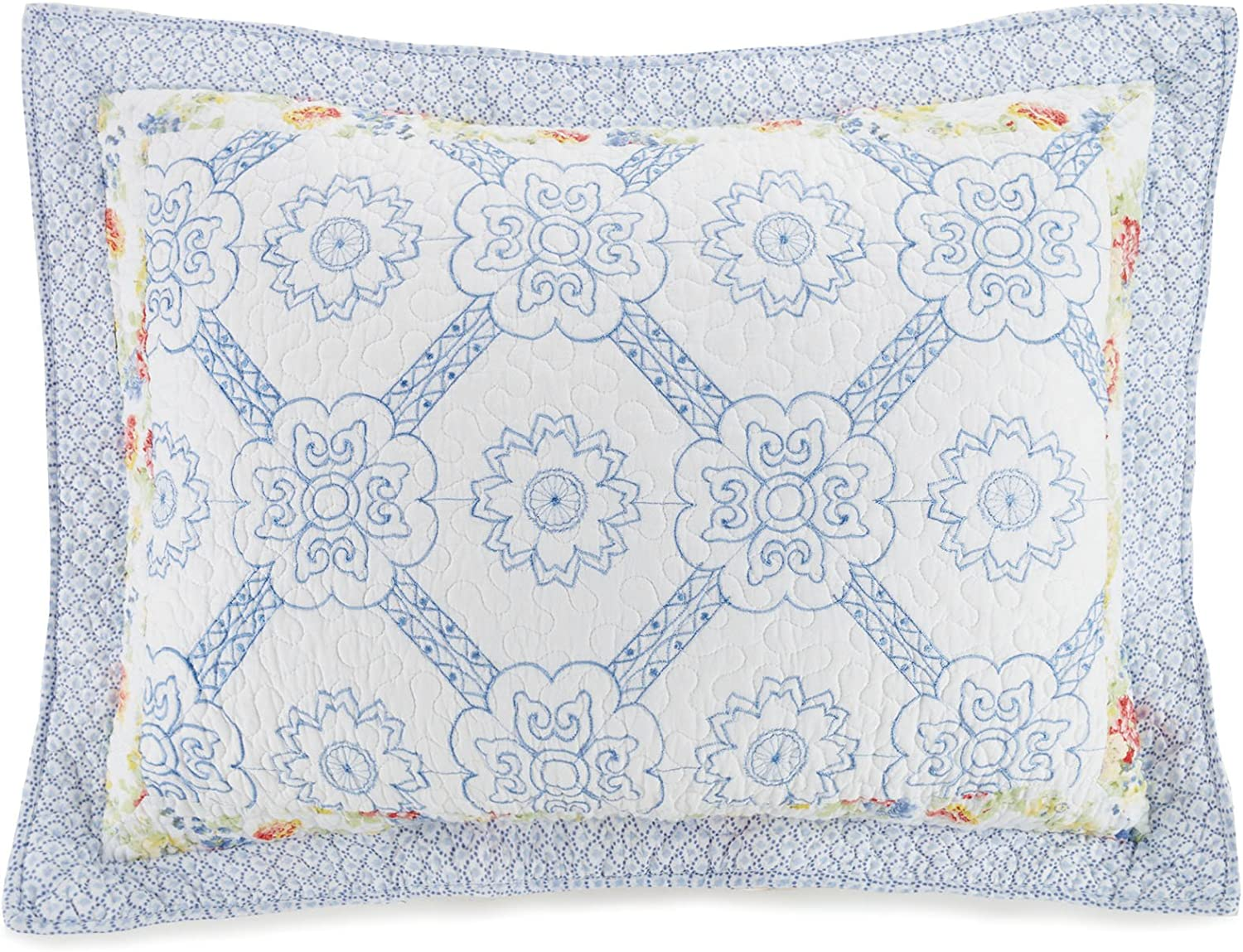 Mary Jane's Home Floral Patch Sham, 20X26'', Blue