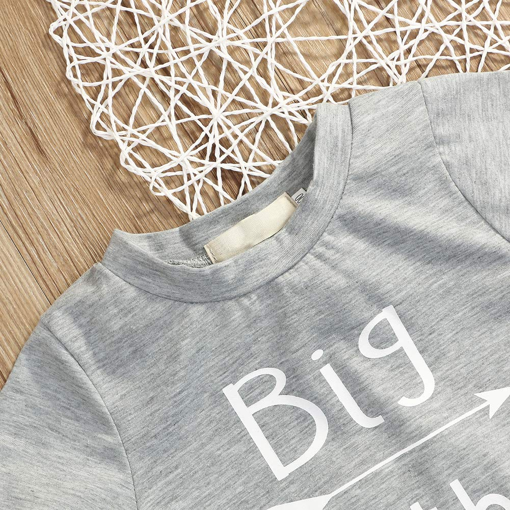 Younger star 1PC Children Baby Boy Gray Letter Print Short Sleeve T-Shirt Clothes Outfit (Gray-Brother, 3 T) by Younger star (Image #4)