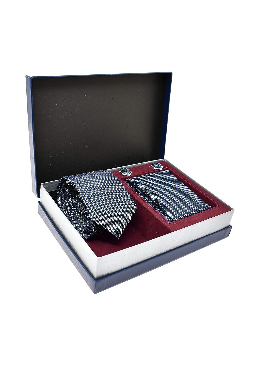 Corbata de hombre 100/% Seda Caja y Conjunto de Regalo, ideal para una boda, con un traje, en la oficina... Pa/ñuelo de Bolsillo y Gemelos Azul a Rayas Elegante y Moderno - Cl/ásico