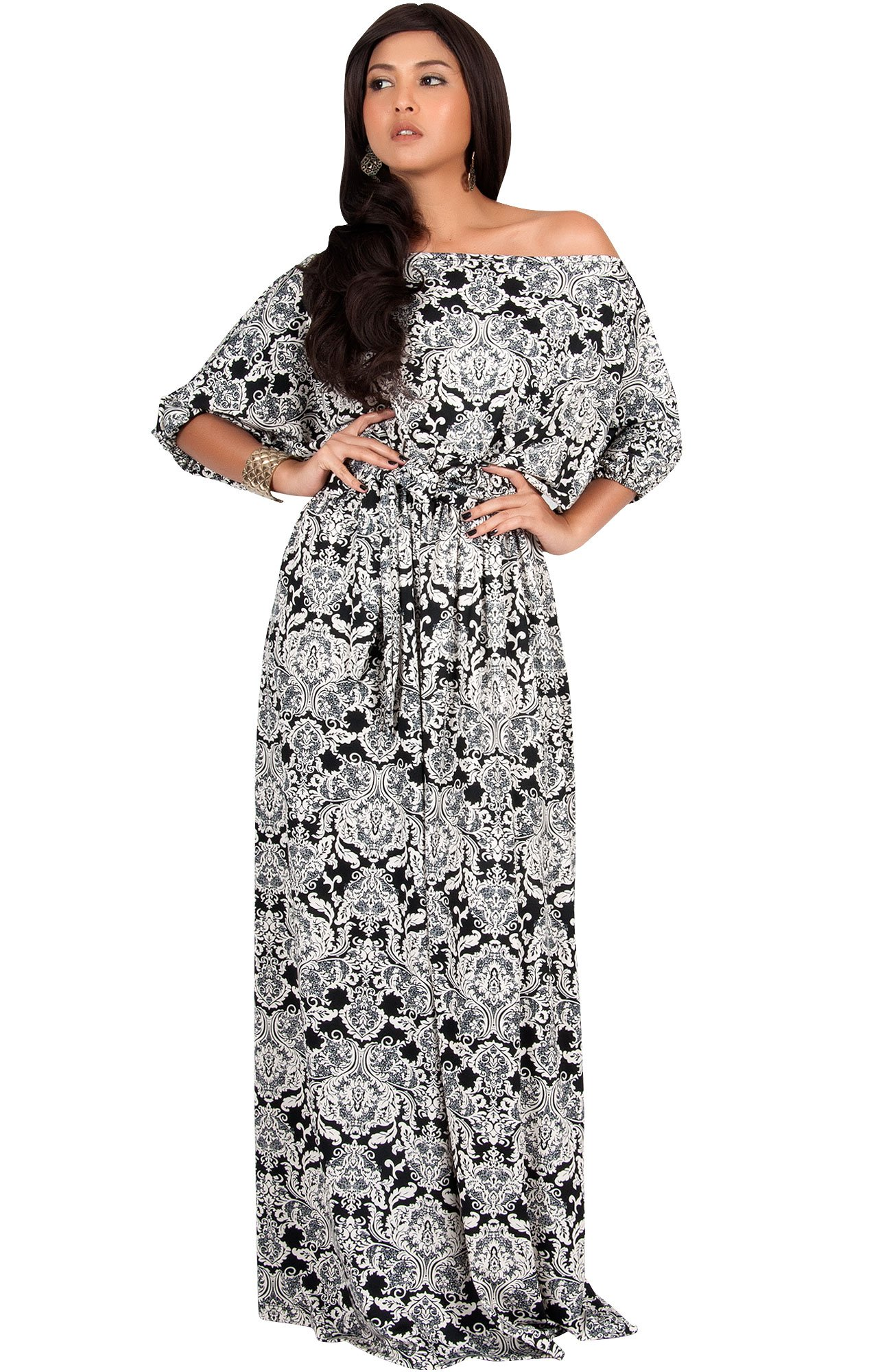 62cbe196c18 KOH KOH Plus Size Women Long Sexy One Off Shoulder Print Casual Flowy 3 4  Short Sleeve Summer Cute Boho Bohemian Sexy Gown Gowns Maxi Dress Dresses