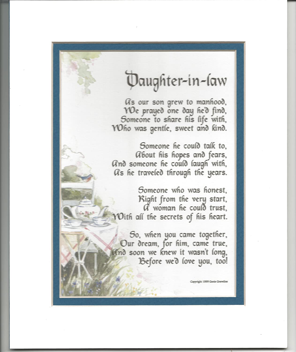 Amazon Daughter In Law Gift Present Poem For Bridal Shower Or