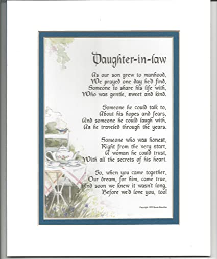 Amazon Daughter In Law Gift Present Poem For Bridal Shower Or Birthday 89 Future Gifts Paintings