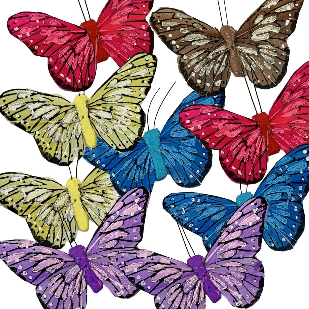 BANBERRY DESIGNS Butterfly Decorations - Set of 9 Vibrant Multi Colored Craft Butterflies on a Clear String Garland - Party Home Decor Spring Decor - Butterfly Banner Measures 42 Inches Long